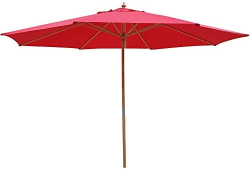Legendary-Yes 13 Foot Red Polyester Umbrella 8-Rib Solid Sycamore Wood Pole Pulley for Outdoor Patio Furniture Overhead Cover Canopy UV Protection Sun Shade Caf Shop
