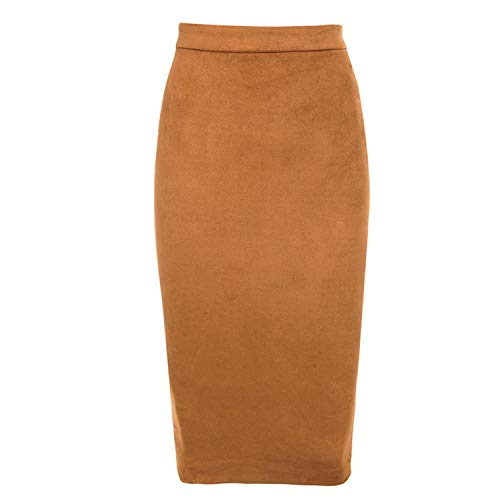 Midi Skirt High Waist Faux Leather Winter Skirts Womens Two-Way Zipper Through Pencil Skirt,Kahki,XL (Zara Faux Leather Pencil Skirt)