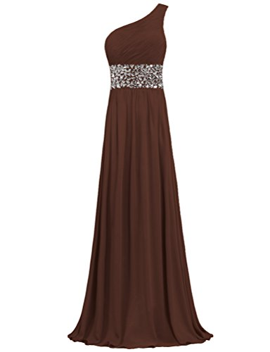 Evening Long Prom Crystal One Shoulder Dresses Chiffon ANTS Gowns Brown qxY6v0I