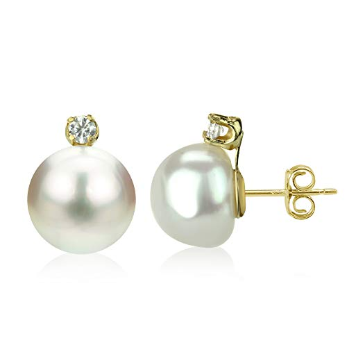 14k Yellow Gold 1/10cttw Diamond 9-9.5mm White Button Shape Freshwater Cultured Pearl Stud Earrings