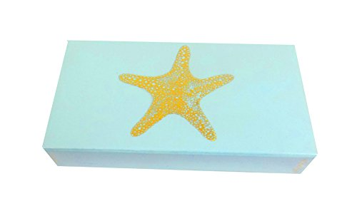 "The Joy of Light Designer Matches Gold Foiled Starfish On Light Blue Embossed 4"" Collectible Matchbox"