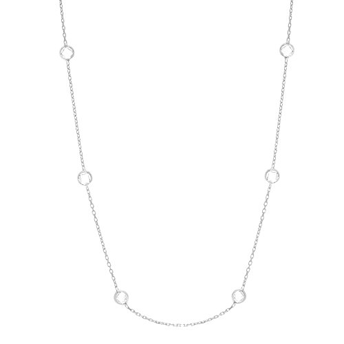 Women's Sterling Silver Double Side Cubic Zirconia CZ By The Yard Station Necklace (Silver 36