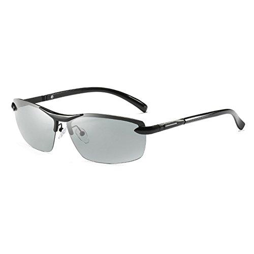 Polarizada Protección Libre Solar Gafas Clásico Sol Gafas Protección Luz Anti Color Negro Gris Medio Y Noche De Decoloración Hombres Día UV Marco Aire WYYY Gafas 100 Conducción De UVA RUHcO