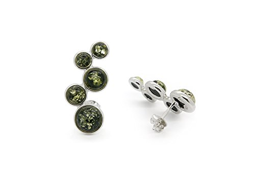 925 Sterling Silver Circles Stud Amber Earrings with Genuine Natural Baltic Green Amber.