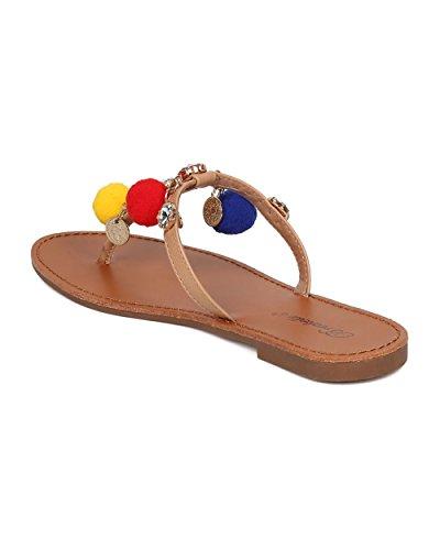 Breckelles Kvinner Ringer Og Dusk Sandal - T-stropp Sandal - Rhinestone Flip Flop - Ha18 Ved Naturlig Blanding Media