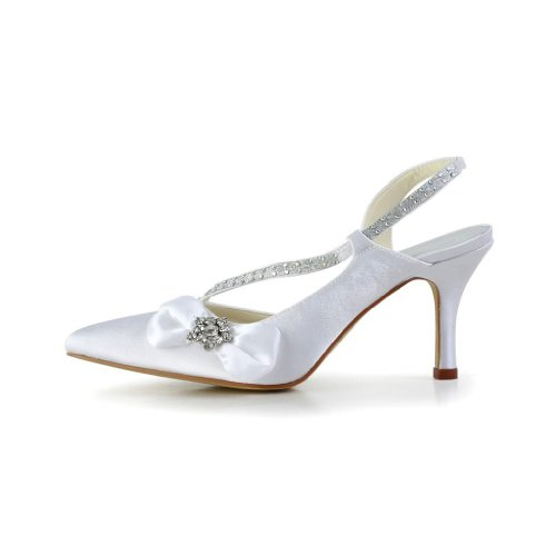 Donna Jia Sposa A3121 Col Bianco Scarpe Tacco Wedding wqZaHZOn