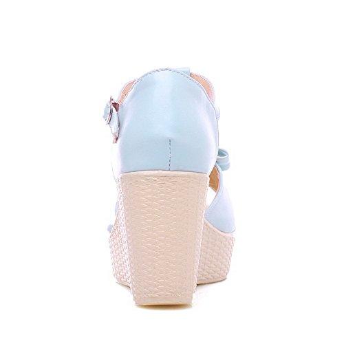 Pu High Blue Toe AgooLar Sandals Women's Buckle Solid Heels Open Sq6SA4wY