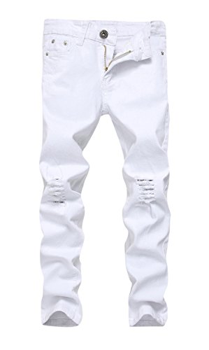 (FREDD MARSHALL Boy's White Skinny Fit Ripped Destroyed Distressed Stretch Slim Jeans)