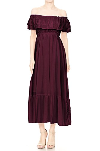 Anna-Kaci Womens Boho Peasant Ruffle Stretchy Short Sleeve Long Dress, Burgundy, -