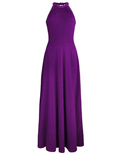 STYLEWORD Women's Off Shoulder Elegant Maxi Long Dress(Purple,L) ()