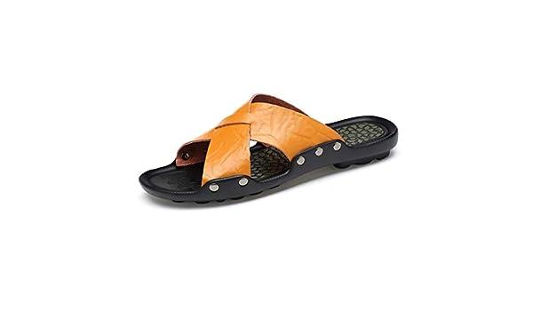QAR Zapatillas De Hombre Amarillas Zapatillas Antideslizantes De Verano Zapatillas Inglesas Zapatillas De Cuero con Fondo Blando Zapatillas (Color ...