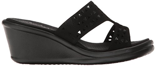 Skechers Cali Womens Rumblers-hope Float Sandalo Con Zeppa Nero Ritaglio