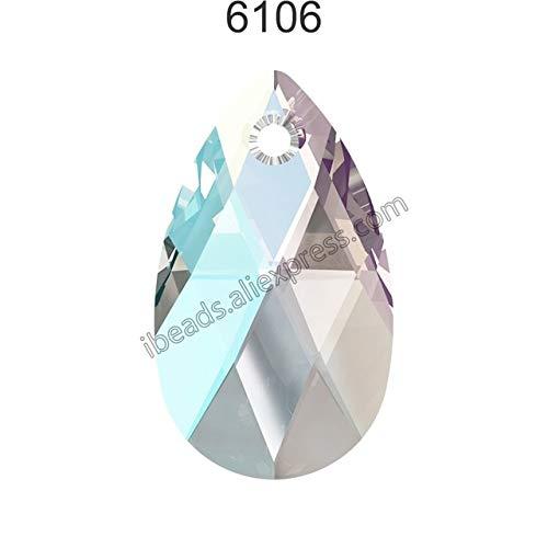 (Pukido (1 Piece) 100% Original Crystal from Swarovski 6106 Pear-Shaped Pendant from Austria Loose Beads Rhinestone DIY Jewelry Making - (Color: Crystal 001 Shim, Item Diameter: 22mm))