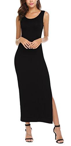 Women Sleeveless Bodycon Tank Top Dress Side Slit Long Maxi Summer Dresses(XL, Black)