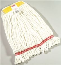 RENOWN PREMIUM BARRIER LOOP-END SHRINKLESS BLEND WET MOP HEAD WITH 5 IN. HEADBAND, WHITE, - Headband Barrier