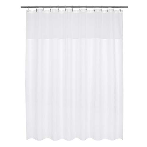 Barossa Design Wide and Long Fabric Shower Curtain with Sheer Window 84 x 78 inch, Waffle Weave, Hotel Collection, 230 GSM Heavyweight, Water Repellent, Machine Washable, White, 84x78