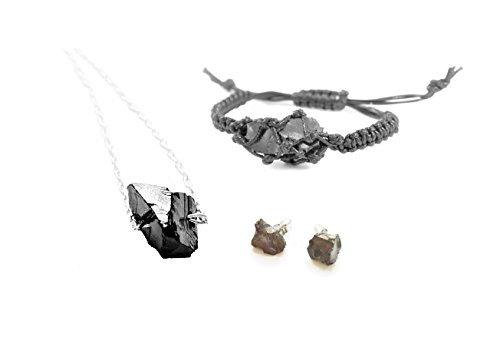 Elite Mens Bracelets - Karelian Heritage Elite Shungite Jewelry EMF Protection and Root Chakra Crystal Healing Set (Macrame Set) S119