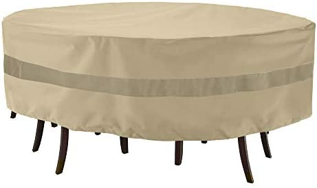 SunPatio Outdoor Round Table and Chair Cover, Waterproof Patio Furniture Set Cover with Taped Seam, Heavy Duty Dining Table Set Cover, 84 Dia x 30 H, All Weather Protection, Beige