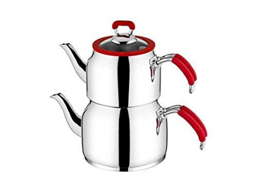 Tac Nesta Collection 18/10 Stainless Steel Teapot, Modern Design Tea Maker, 100 Oz Capacity Turkish Samovar Double Teapot & Tea Kettle with Heat Resistant Handles and Pyrex Glass Lid, Red - Double Teapot Handle