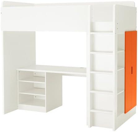 Ikea 26386.232917.1414 - Cama Doble con 2 estantes, 2 Puertas, Color Blanco y Naranja: Amazon.es: Juguetes y juegos