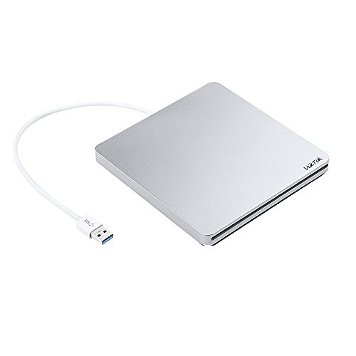 (VikTck USB External DVD CD Drive Writer/Rewriter/USB CD Burner for Macbook Pro Laptop/Desktops/Win 7/8.1/10 (Silver))