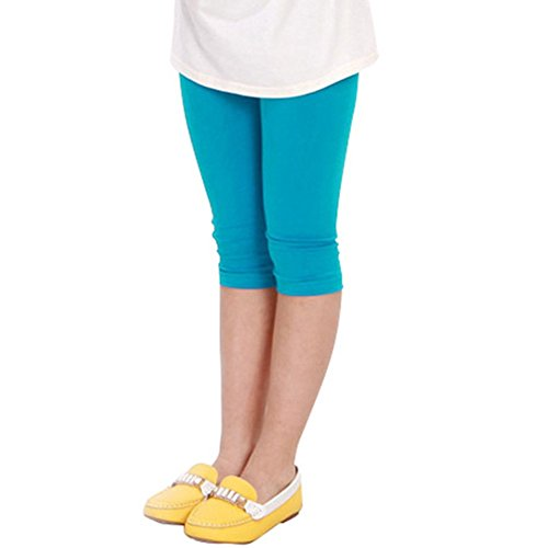 Candy Color Kids Girl Cotton Tight Leggings Children Summer Cropped Capris Pants (Asian S, Lake Blue)