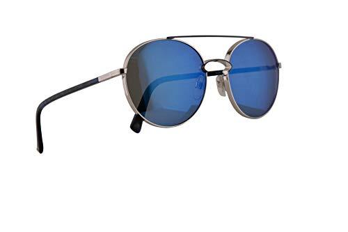 Valentino VA 2002 Sunglasses Silver Blue w/Blue Mirror Lens 55mm 300655 VA2002S VA2002/S VA2002 ()
