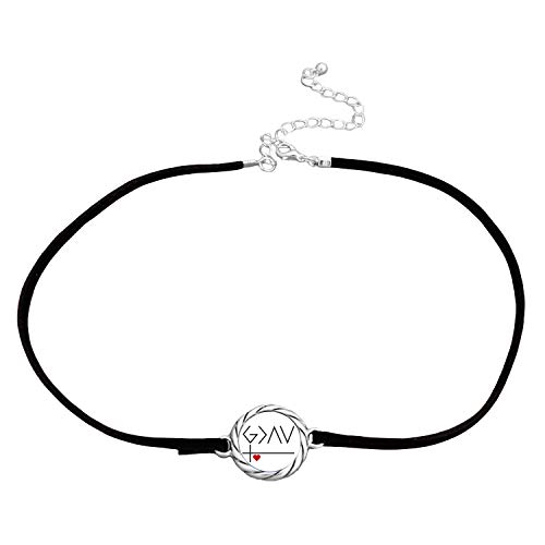 SAS G>^v God is Greater Than Our Highs and Lows Black Leather Choker Necklace Gift