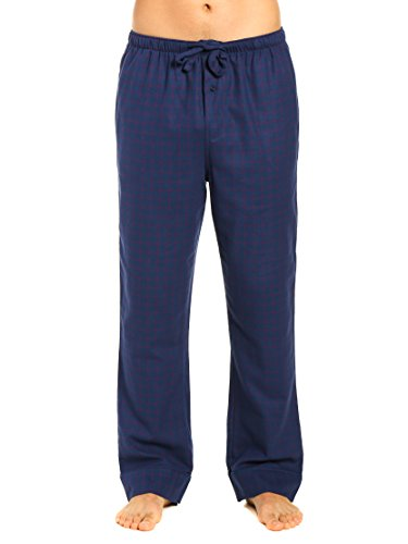Noble Mount Men's Premium Flannel Lounge Pants - Checks - Dark Blue - ()