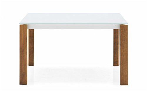 "Connubia Eminence W Wooden Legs Extending Table - 63-83"" - Tempered Glass Frosted Extraclear Top - Metal Stained Matt Taupe Frame - Beech Walnut Legs"
