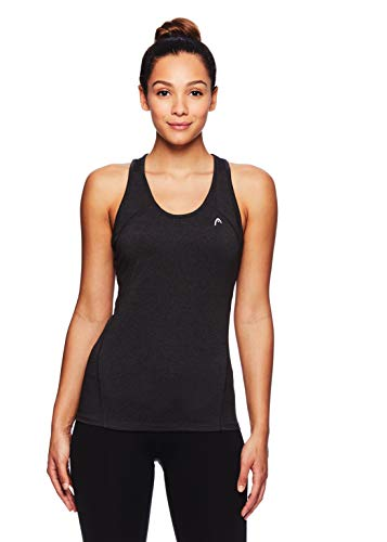 HEAD Women's The Cycle Racerback Tank Top - Sleeveless Flowy Performance Activewear Shirt - Charcoal Heather Cycle Tank, - Halter Banded Top Long