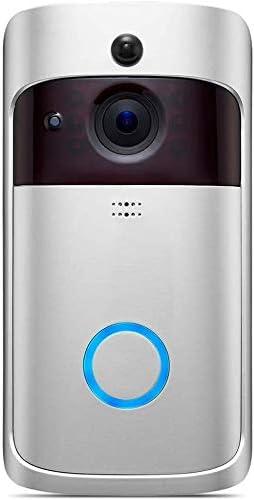 CONCEN WIFIドアベルビデオは720P HDワイヤレススマートホームIPカメラセキュリティアラーム赤外線ナイトビジョンドアベルドアベル、スマートWIFI無線2.4Gビデオは、リモートホームモニタリングドアベル (Color : White)