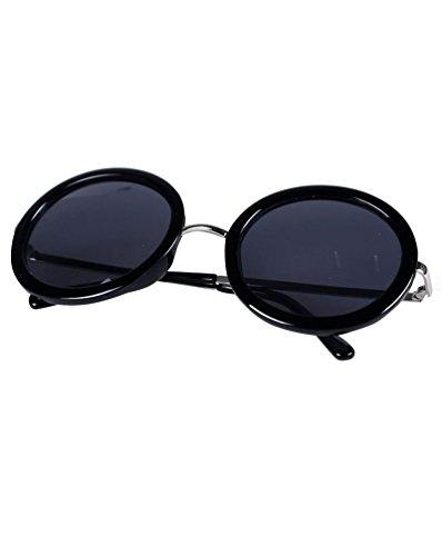 para Vintage Sol Sunglasses MissFox Moda Mujer brillante única Lente Hombre Gafas Talla Gafas Negro y Ronda UV400 de qgIqwFXR