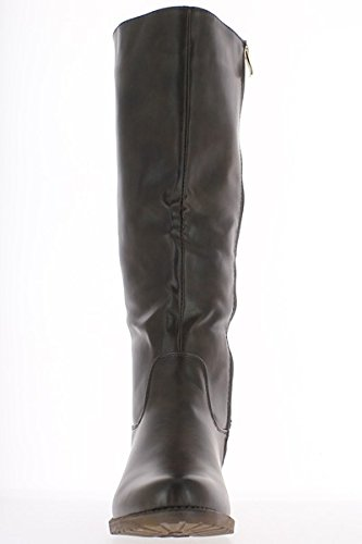 Vita di donna grande stivali marrone raddoppiato a tacco 4cm
