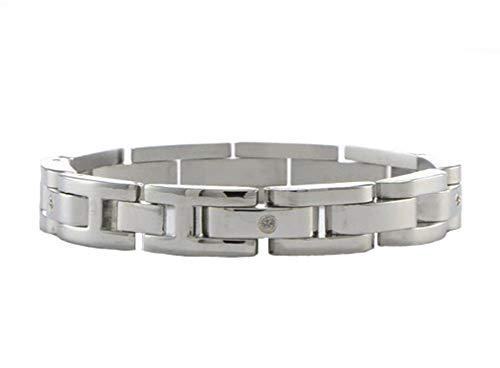 - Men's Stainless Steel, 14k White Gold 10mm Diamond Panther Link Bracelet, 8.5