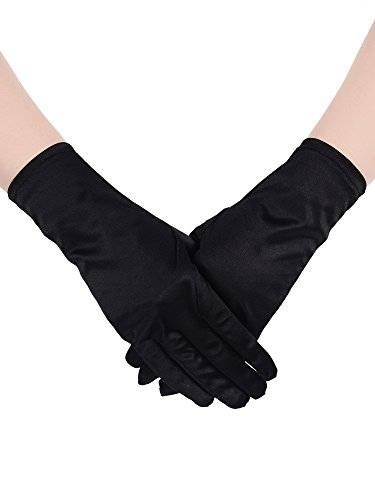 Fingertip Spandex Gloves - Sumind Short Satin Gloves Wrist Length Gloves Women's Gown Gloves Opera Wedding Banquet Dress Glove for Party Dance (Black)