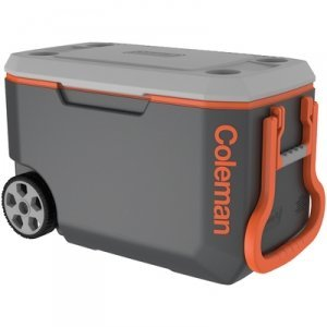 Coleman Leak-Resistant Low CO2 Insulation 62 Qt. Xtreme 5-day Ice Retention Wheeled Cooler, Holds 95 Cans, Gray/Orange by Generic