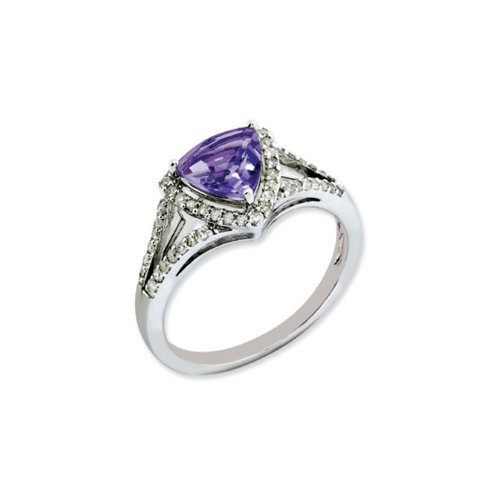 Trillion Amethyst & .25 Ctw (H-I Color, I2-I3 Clarity) Diamond Sterling Silver Ring, Size 10 by The Black Bow
