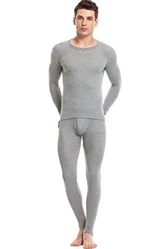 SANQIANG Men's 100% Cotton Thermal Underwear Ultra Soft Warm Long Johns Set Top and Bottom (2XL=US Standard L, Light Grey)