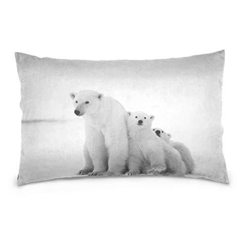 (EJudge Long Pillowcases Polar Bear Family Beauty Travel 3D Print Pillow Cover Bed Zipper Queen Pillow Cases 1 Piece 20x30 inch)