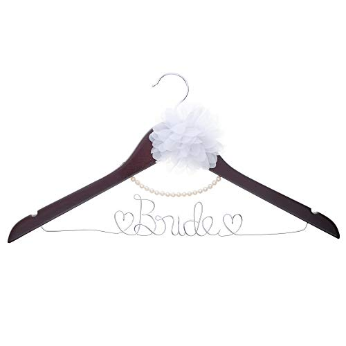 - Ella Celebration Bride to Be Wedding Dress Hanger Wooden and Wire, Accented with Pearls and A Flower Bridal Hangers for Brides (Mahogany with Silver Wire and Pearls)