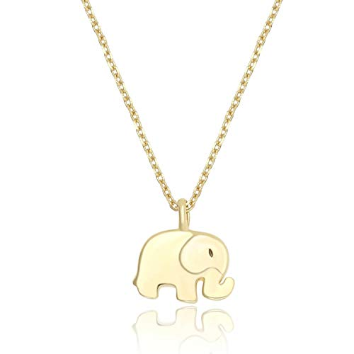 Lancharmed S925 Sterling Silver Tiny Elephant Cute Pendant Friendship Necklace Fine Jewelry for Women Girls ()