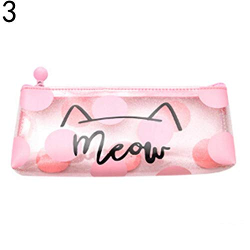 (opOpb213IL Pencil Case Kids School Supplies,Letter Cat Bag Cosmetic Makeup Pouch Pen Pencil Stationery Storage Zipper Case - 3#)