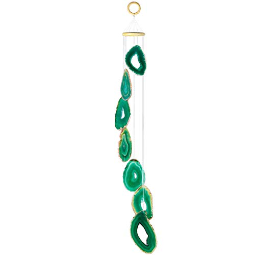 mookaitedecor Green Agate Slices Wind Chimes for Home Garden Decoration 28-33 Inches
