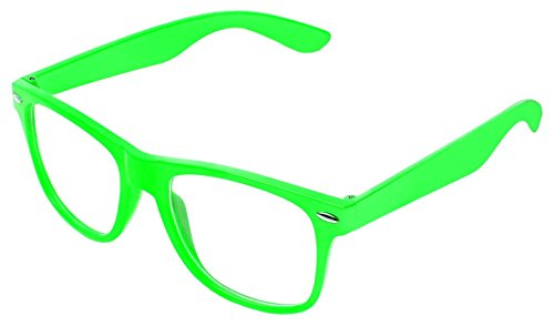Rétro Vintage couleur unisexe Punk Geek Classic style Nombre Zéro Effacer Objectif Lunettes de soleil par BOOLAVARD Clair Vert