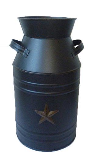 Craft Outlet Black Tin Milk Can Container with Star, 11-Inch ()