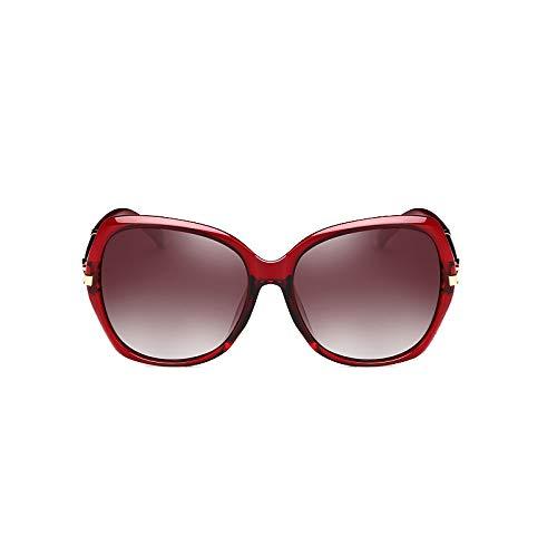 de Brown Rouge Polarized rétro Fashion Générique Vin boîte Ronde Lunettes Face marée élégantes Sunglasses Visage Star Soleil Protection Longue Soleil Femmes UV Couleur Lunettes Lunettes de 74w4qXgn