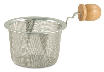 Tea Strainer Stainless Steel Mesh with Wooden Handle by Online Stores, Inc.