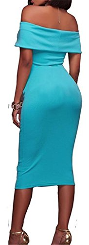 Sexy Bodycon Wathet Shoulder Ruched Women Strapless Cross Off Dresses Midi Cromoncent qf0pwYY