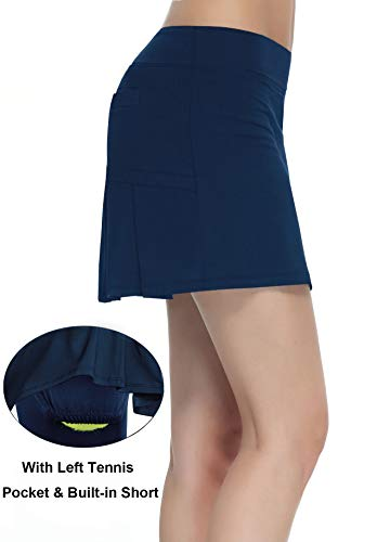 Women's Workout Active Skorts Sports Tennis Golf Skirt with Built-in Shorts Size XS (Deep Blue)